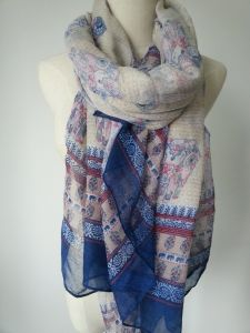 100% Polyester Ethnic Scarf for Ladies Fashion Accessories Elephant Print Shawls pictures & photos
