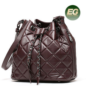 Latest Soft Designer Grid Lady Bucket Bags Real Leather Women Handbags OEM Factory Emg4912 pictures & photos