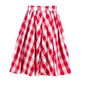 2017 Top Quality Women′s Clothing Factory Black and Red Plaid Full Circle Skirts pictures & photos