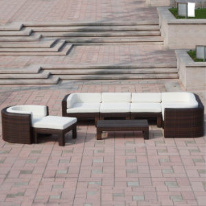 New Style Brown Outdoor Garden Furniture Lounge Rattan Corner Deck Sofa Set pictures & photos