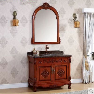 Solid Wood Bathroom Cabinet on Floor Marble Basin Classic