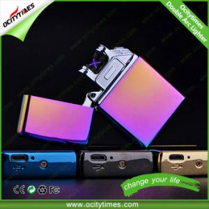 Cigarette USB Lighter No Gas Rechargeable USB Lighter Dual Arc Lighter pictures & photos