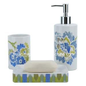 Stripe Flower Decal Ceramic Bathroom Accessory / Bath Accessory / Bathroom Set pictures & photos