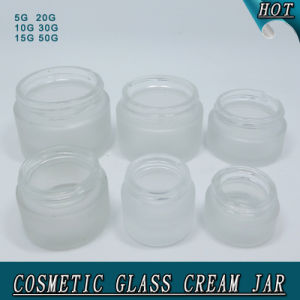 Wholesale Round Shape White Frosted Cosmetics Cream Empty Glass Jar pictures & photos