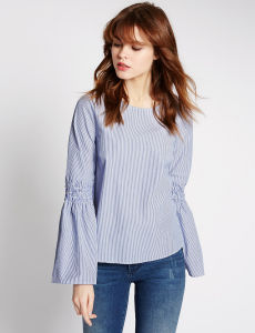 Pure Cotton Striped Fluted Sleeve Blouse pictures & photos