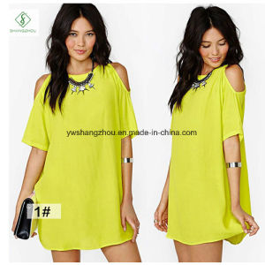 Hot Sale Fashion Euramerican Short Sleeved Chiffon Strapless Maxi Dress pictures & photos