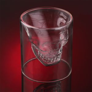 Creative Spirit Cup 150ml High Borosilicate Skull Shaped Double Wall Glass Barware pictures & photos