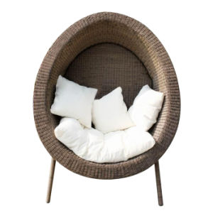 Indoor/Outdoor Leisure Area Garden Furniture Single Bench Rattan Egg Shaped Sofa Lounger Chair pictures & photos