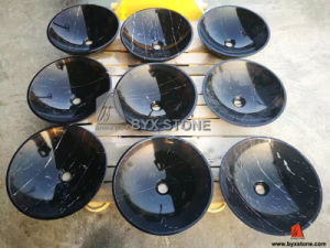 Nero Marquina Black Marble Polishing Sinks with Classic Round Shape pictures & photos