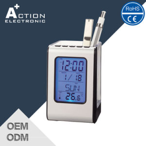 Simple Style Plastic Digital Penholder LCD Table Promotion Clock pictures & photos