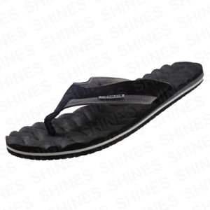 Black Flip Flop with Water Wave Stripe Insole for Men