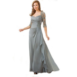 3/4 Sleeves Lace Formal Gown A-Line Chiffon Prom Party Evening Dresses E3396 pictures & photos