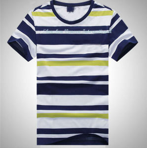 Men′s Striped T Shirt with Short Sleeve and Crew Neck pictures & photos