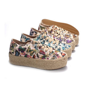 Lady Hemp Rope Canvas Shoes with Lace-up Colorful Pattern pictures & photos
