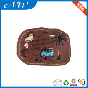 Custom High Quality Leather Patches with Embroidery pictures & photos