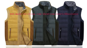 Men′s Leather and Knitwear Mixed Cardigan Vest (0111) pictures & photos