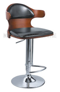 Popular Antique Design Bar Furniture Bent Wood Bar Stool with PU Leather Bar Chair (NK-BC025)