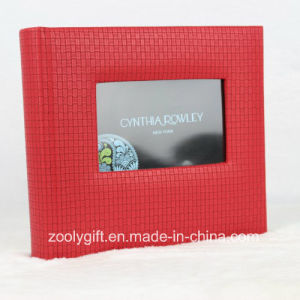 Red Knit Pattern PU Leather Wedding Photo Album with Window pictures & photos