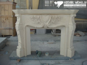 Granite/Marble Statue Fireplace Mantle/Mantels with Electric Fireplace for Indoor (SC039) pictures & photos