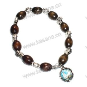 Ellipse Wood Beads Woth Alloy Cross Elastic Bracelet