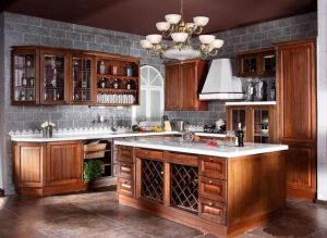 American Style Solid Wood Kitchen Cabinet (cherry 10) pictures & photos
