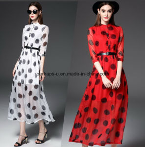 Sweet Slim Printing Polka DOT A-Line Women Dress with Waistband pictures & photos