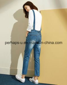 Women Denim Blue Jeans Long Casual Overalls pictures & photos