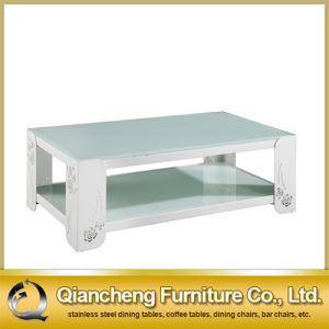 White Glass Stainless Steel Coffee Table pictures & photos