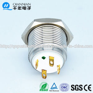 Qn16-D8 16mm Character Illuminated Type Momentary Flat Head Pin Terminal Waterproof Metal Push Button Switch pictures & photos