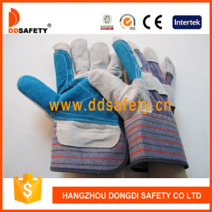 Ddsafety 2017 Reinforced Blue Leather Safety Workig Glove pictures & photos