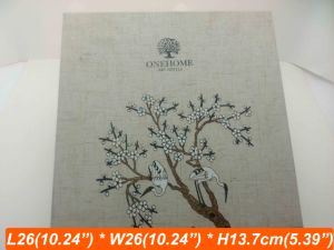 Fabric Linen Natural Color Linen Box Tree Printing Wood Box