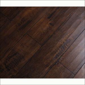 Light Black Rustic Style Handscraped Grain Laminate Flooring with V-Groove pictures & photos