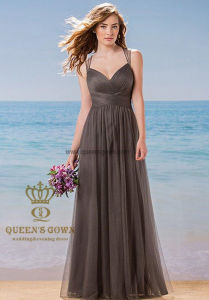 Made in China Women′s Tulle V-Neck Sleeveless Bridemaid Dresses pictures & photos