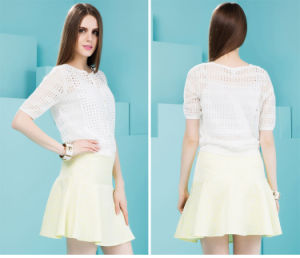 Short Sleeve White Color Women′s Autumn Jacket pictures & photos