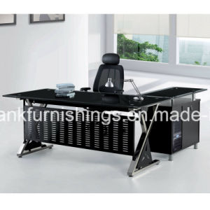 Metal Mesh Glass Top Office Table