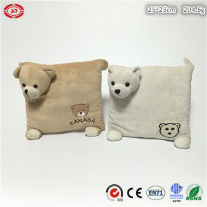 Two Colors Option Cute Bear Square Soft Stuffed Kids Cushion pictures & photos