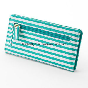 High Quality Women Fashion Leather Wallets Stripe Wallet pictures & photos