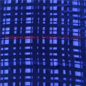 Plain Dye Burn out Silk Velvet in Small Check Pattern