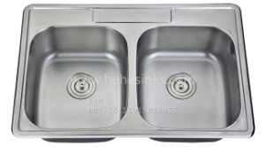"33""X22"" Stainless Steel Equal Double Bowl Top Mount Kitchen Sink pictures & photos"