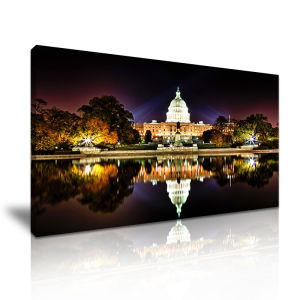 White House Night Scene Wall Art Painting Canvas Printed Painting