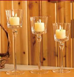 Flower Shape Glass Candle Holder with Long Stemmed with Candle, Styrofoam Box, Color Box Packaging 20.23.26cm pictures & photos