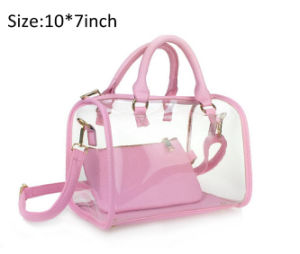 Fashion Woman Jelly Clear Bucket Shoulder Bag PVC 2 In1 Handbag Purse Tote