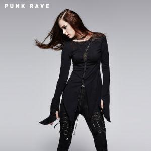 Long Sleeve Punk Asymmetric T-Shirt (T-377) pictures & photos