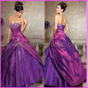 Purple Quinceanera Dress Ball Gown Embroidery Prom Dresses Q205 pictures & photos