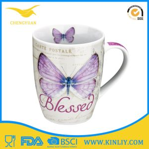Cheap Ceramic Tea Cup Coffee Mug with Butterfly printing pictures & photos