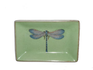 Ceramic Dragonfly Painting Rectangular Saucer/Tray for Soap (CG3906)