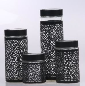 Kitchen Use Glass Storage Canister Jar with Metal Coating pictures & photos