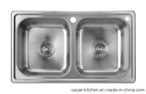 Cacar Two Bowls Countertop Kitchen Sink (SC003) pictures & photos