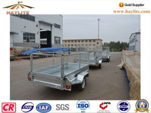 Hot DIP Galvanized 7X4 Box Trailer Car Trailer with Cage pictures & photos