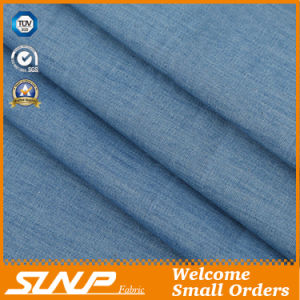 100% Cotton Plaid Mercerized Denim Fabric with Light Weight
